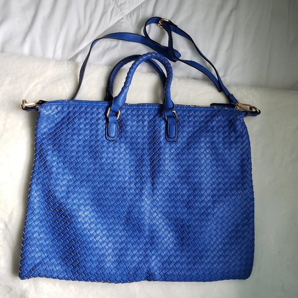 Large bright blue tote style purse